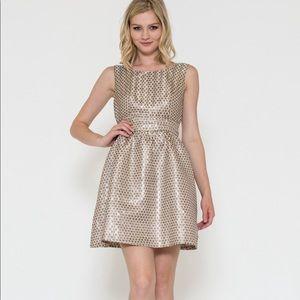 Gold metallic polka dot dress